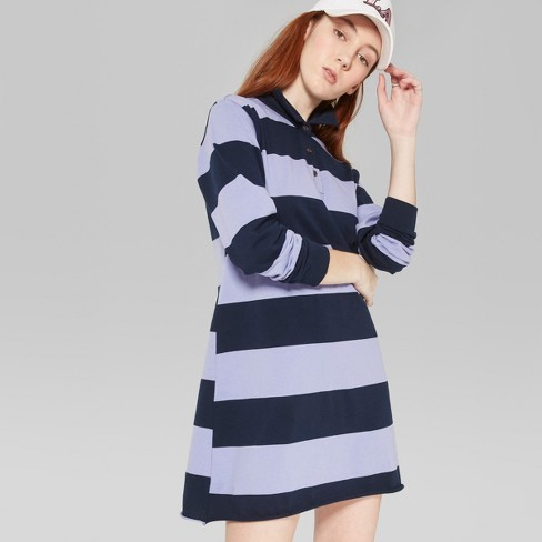 Women's Striped Long Sleeve Rugby Polo Dress - Wild Fable™ Purple/Navy - image 1 of 3