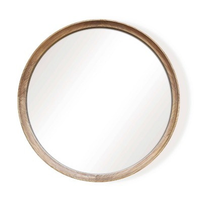 "26"" Classic Round Wood Mirror Natural - Threshold™"