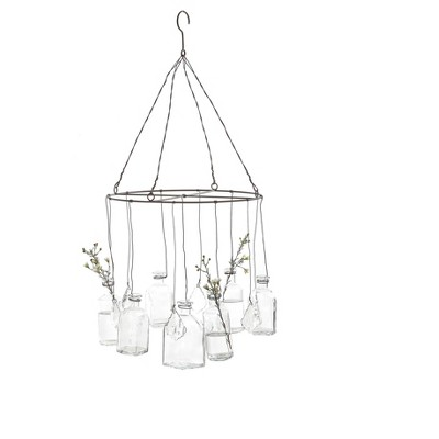 Wire Hanging Glass Vases with Crystals - 3R Studios