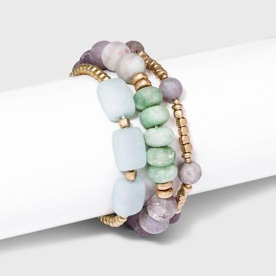 Semi-Precious Stones Stretch Bracelet Set 3pc - Universal Thread™