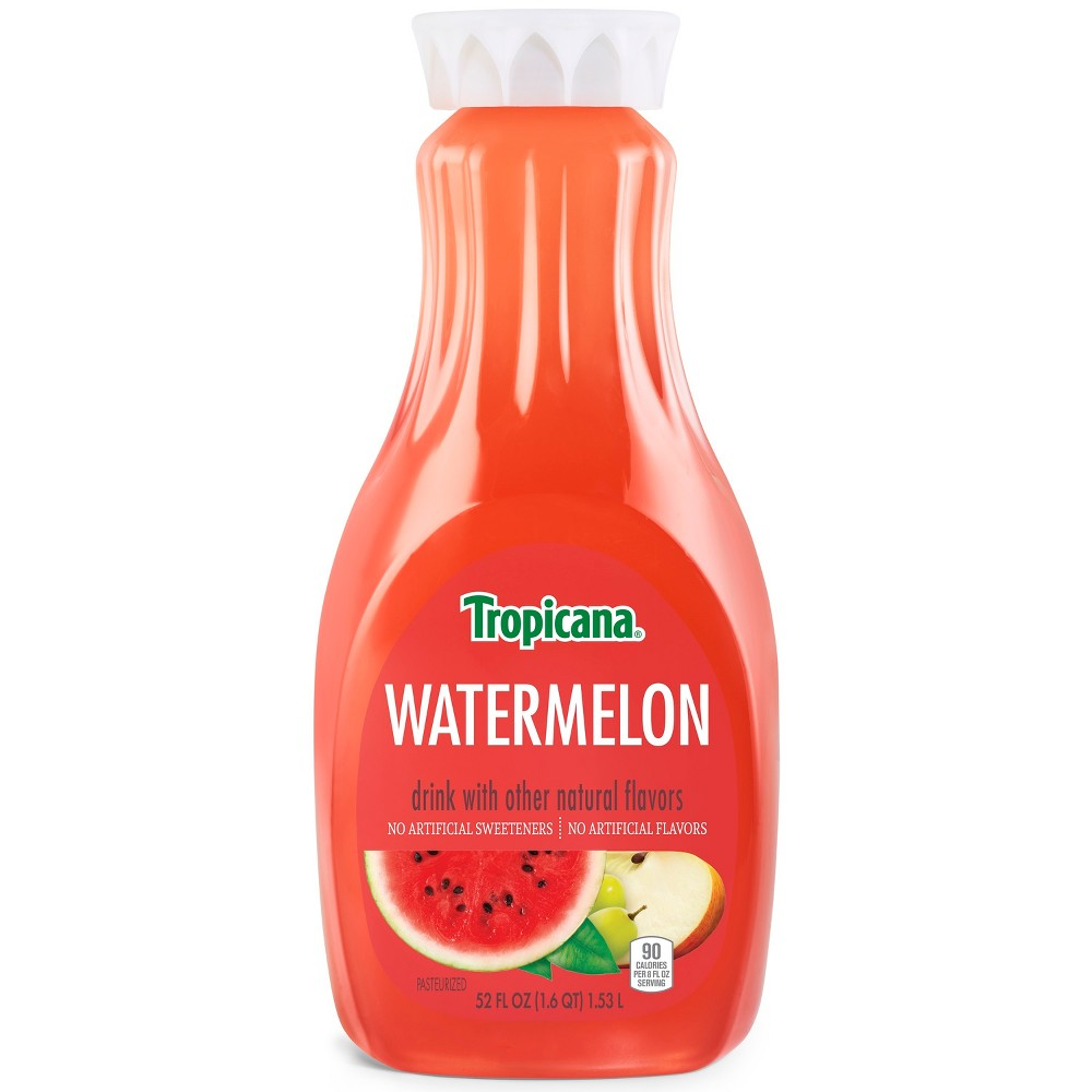 Tropicana Watermelon Drink - 52 fl oz Enjoy the refreshing taste of summer in every glass of our Tropicana Watermelon drink. Made with a blend of summer's most delicious fruit juices, it's a unique juice drink with no artificial sweeteners or flavors.