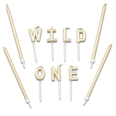 "Blue Panda 31-Piece Gold ""WILD ONE"" Cake Topper Letters & Birthday Cake Candles 5"" for Party Decorations"