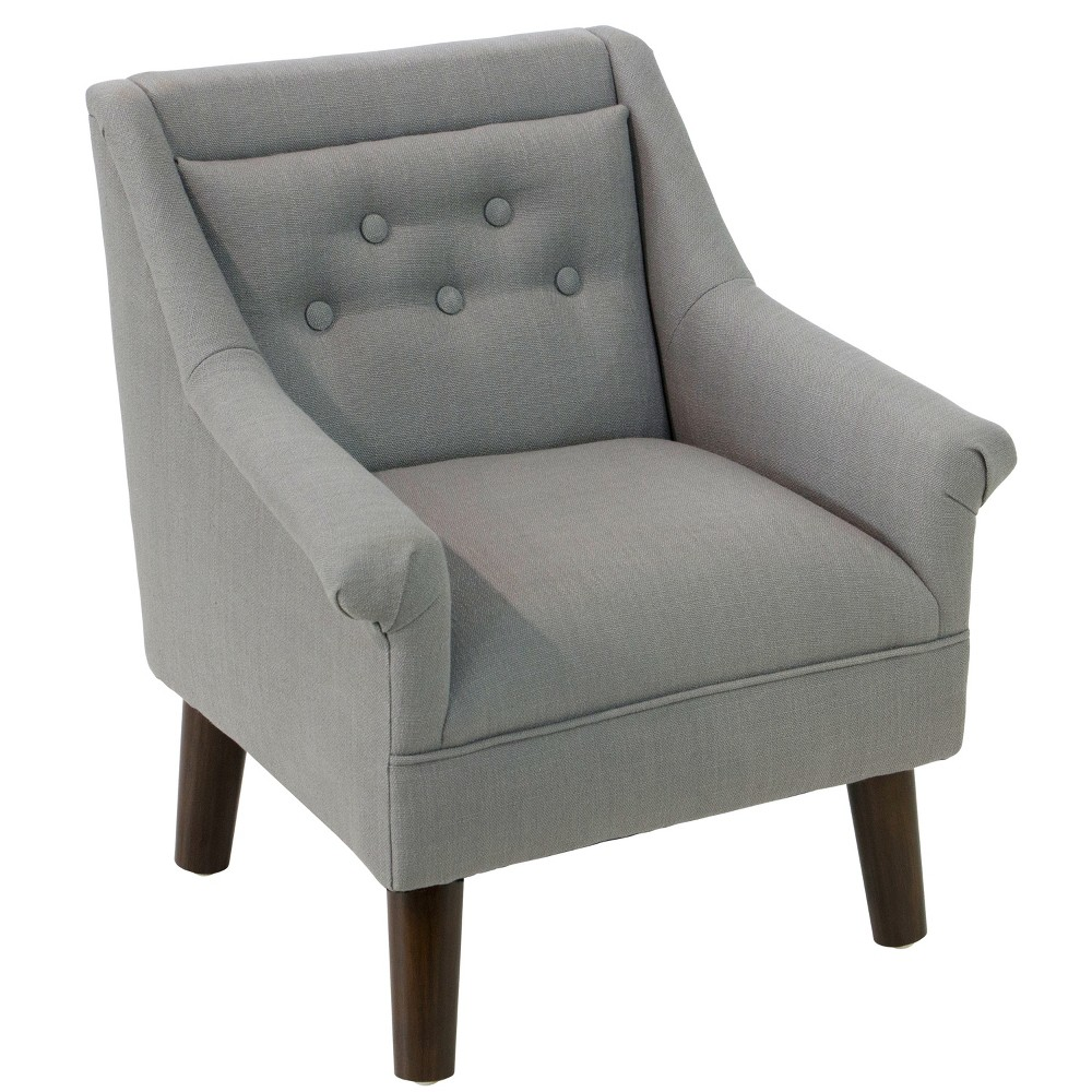Kid's Hadley Button Tufted Chair Gray Linen - Cloth & Co.