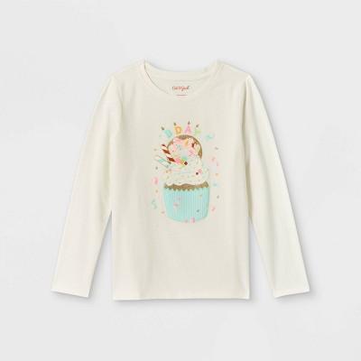 Girls' Birthday Cupcake Graphic Long Sleeve T-Shirt - Cat & Jack™ Cream