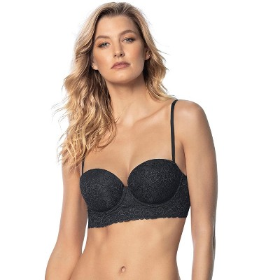 Leonisa Laced Balconette Push-Up Bra with Wide Underbust Band