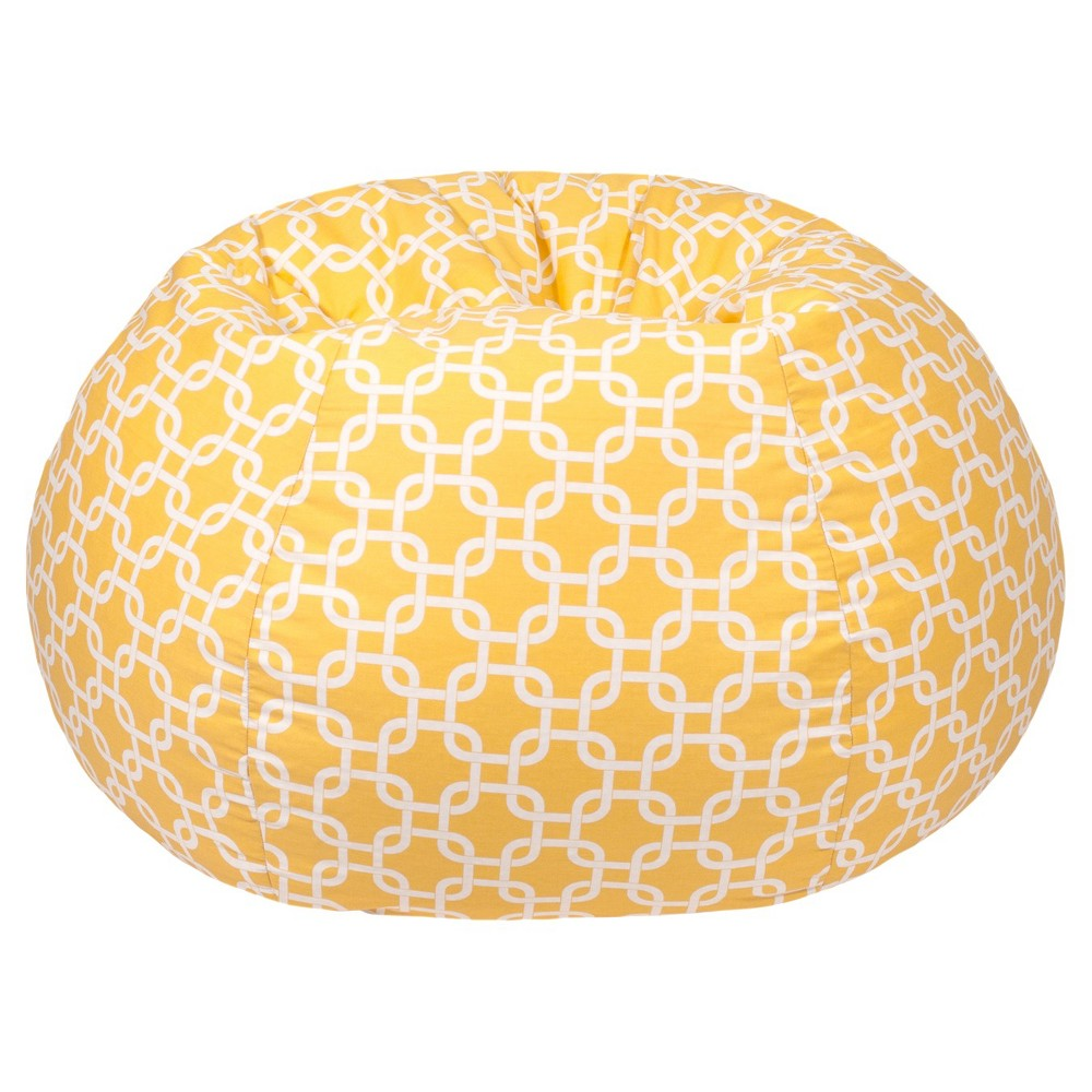 Gold Medal Xxl Gotcha Hatch Pattern Print Bean Bag - Yellow, Pastel Yellow