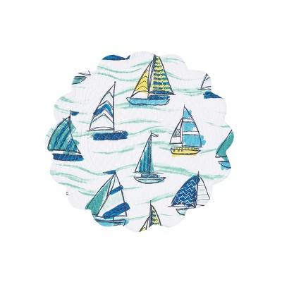 C&F Home Dockside Cotton Quilted Round Reversible Placemat Set of 6