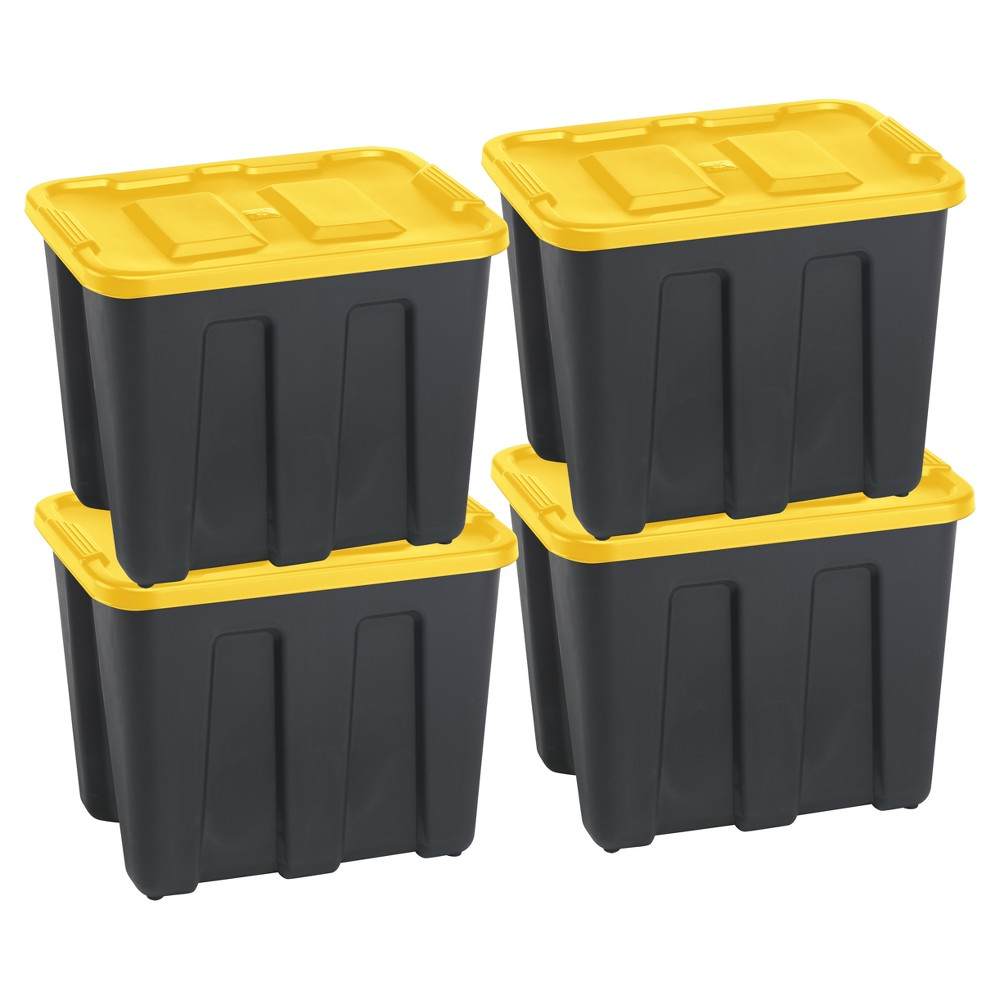 Image of Durabilt18 Gal Storage Totes, Set of 4, Black/Yellow, Clear