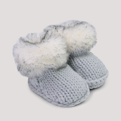 Baby Faux Fur Bootie Slippers - Cat & Jack™ Gray 6-12M