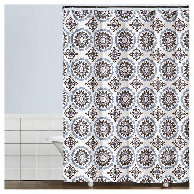 Suzette Geometric Fabric Shower Curtain Blue - Saturday Knight Ltd.