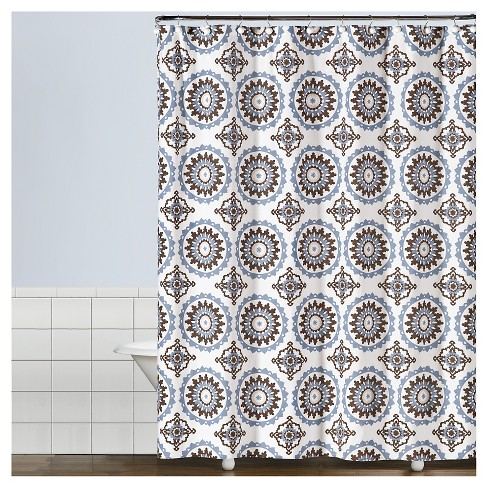 Suzette Geometric Fabric Shower Curtain Blue