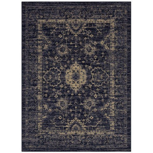 Distressed Area Rug Indigo