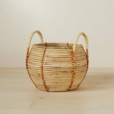 """10"""" x 10.5"""" Round Rattan Basket with Handle Natural - Opalhouse™ designed with Jungalow™"""