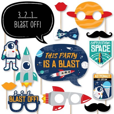 Big Dot of Happiness Blast Off to Outer Space - Rocket Ship Baby Shower or Birthday Party Photo Booth Props Kit - 20 Count