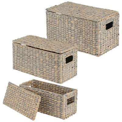 mDesign Woven Hyacinth Home Storage Basket with Lid, Set of 3 - White Wash
