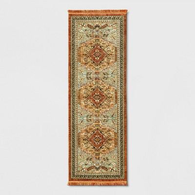 Spiced Green Floral Woven Accent Rug 2.25'x7' - Threshold™