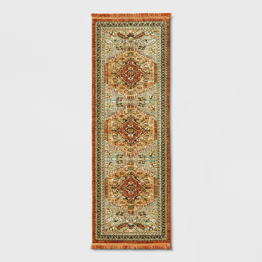 Runner Floral Woven Accent Rug Green/Red- Threshold