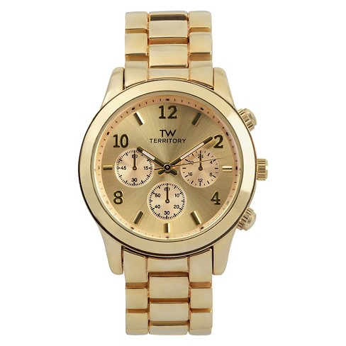 Men's Territory Round Face Metal Link Watch - Gold - image 1 of 3