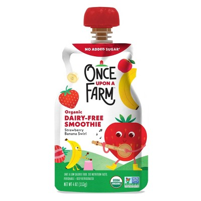 Once Upon a Farm Organic Dairy-Free Strawberry Banana Swirl Kids Smoothie - 4oz