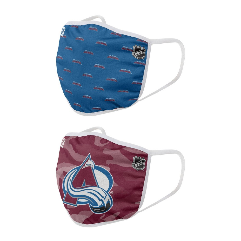 Nhl Colorado Avalanche Youth Clutch Printed Face Covering 2pk