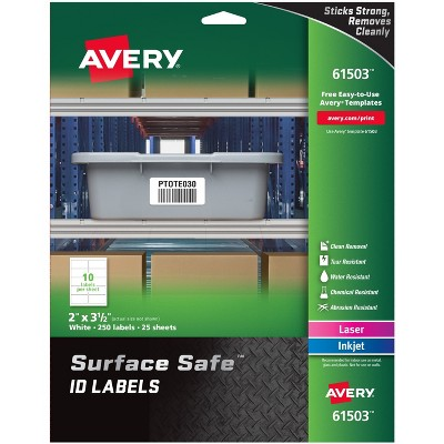 """Avery Labels Removable Surface Safe 2""""x3-1/2"""" 250/PK WE 61503"""