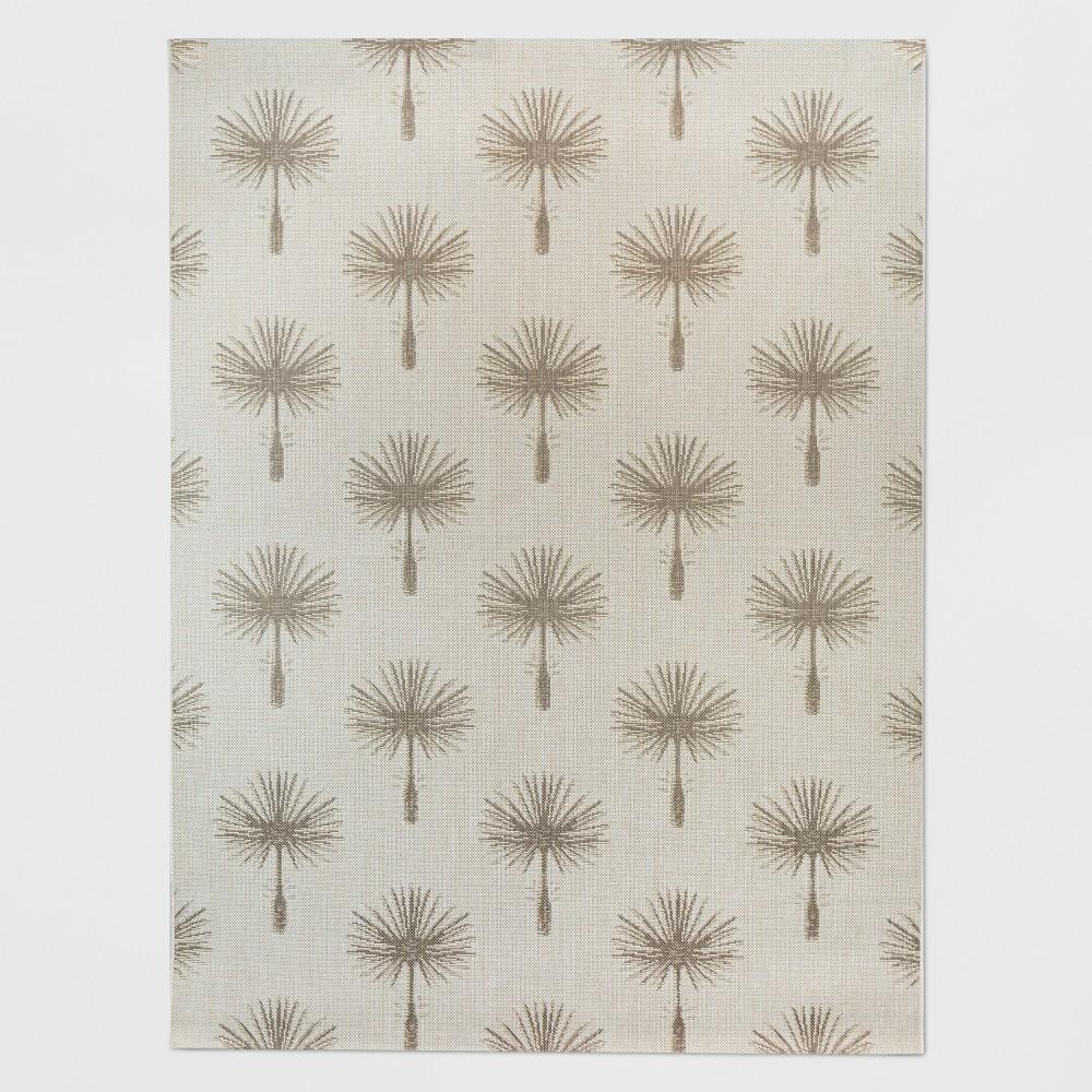 5' x 7' Palm Print Outdoor Rug Tan - Threshold