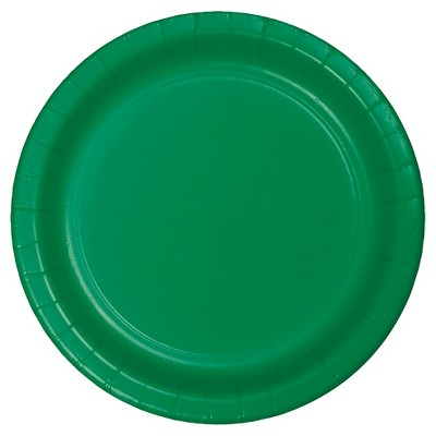 "Emerald Green 7"" Dessert Plates - 24ct"