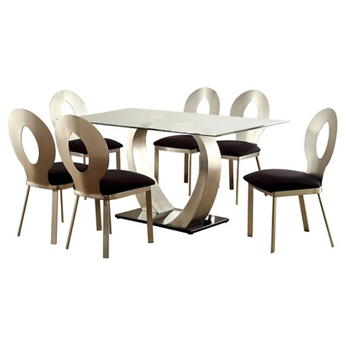 ioHomes 7pc Dining Set With Oval Back Chairs Metal/Satin Finish - image 1 of 3