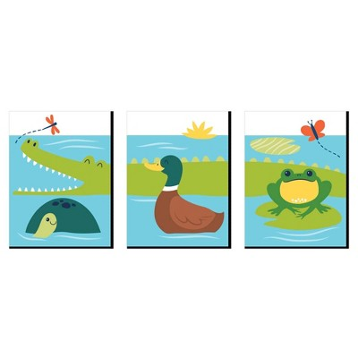 Big Dot of Happiness Pond Pals - Frog, Alligator, Turtle and Duck Nursery Wall Art and Kids Room Decor - 7.5 x 10 inches - Set of 3 Prints