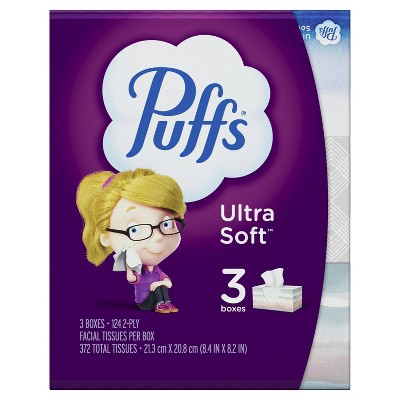 Puffs Ultra Soft & Strong Family Facial Tissue - 3pk/124ct