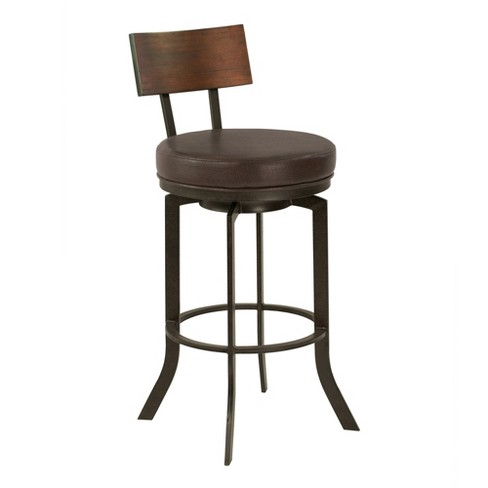 "Armen Living 30"" Ojai Mid Century Bar Height Metal Swivel Barstool Ford Brown - image 1 of 7"