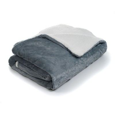 Yorkshire Home Fleece Blanket with Sherpa Backing - Gray (Full/Queen)