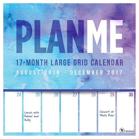 "TF Publishing 2017 Wall Calendar, (12"" x 12"") PlanMe Big Grid 17 Month - image 1 of 4"