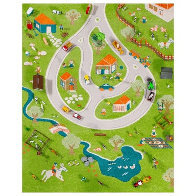 IVI 3D Play Carpets 101MD011YE10152 59 x 39-inch Farm Rug and Educational Toddler Mat for Bedroom, Kids Den, or Playroom, Medium