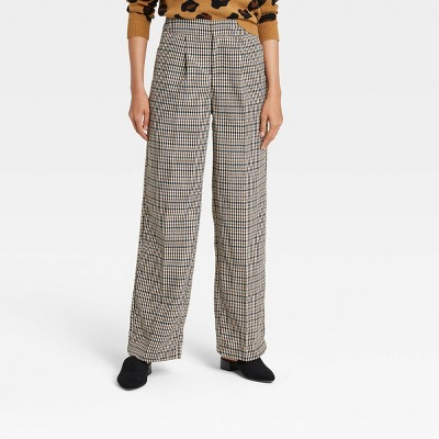 Women's Plaid High-Rise Relaxed Fit Wide Leg Trousers - Who What Wear™ Brown