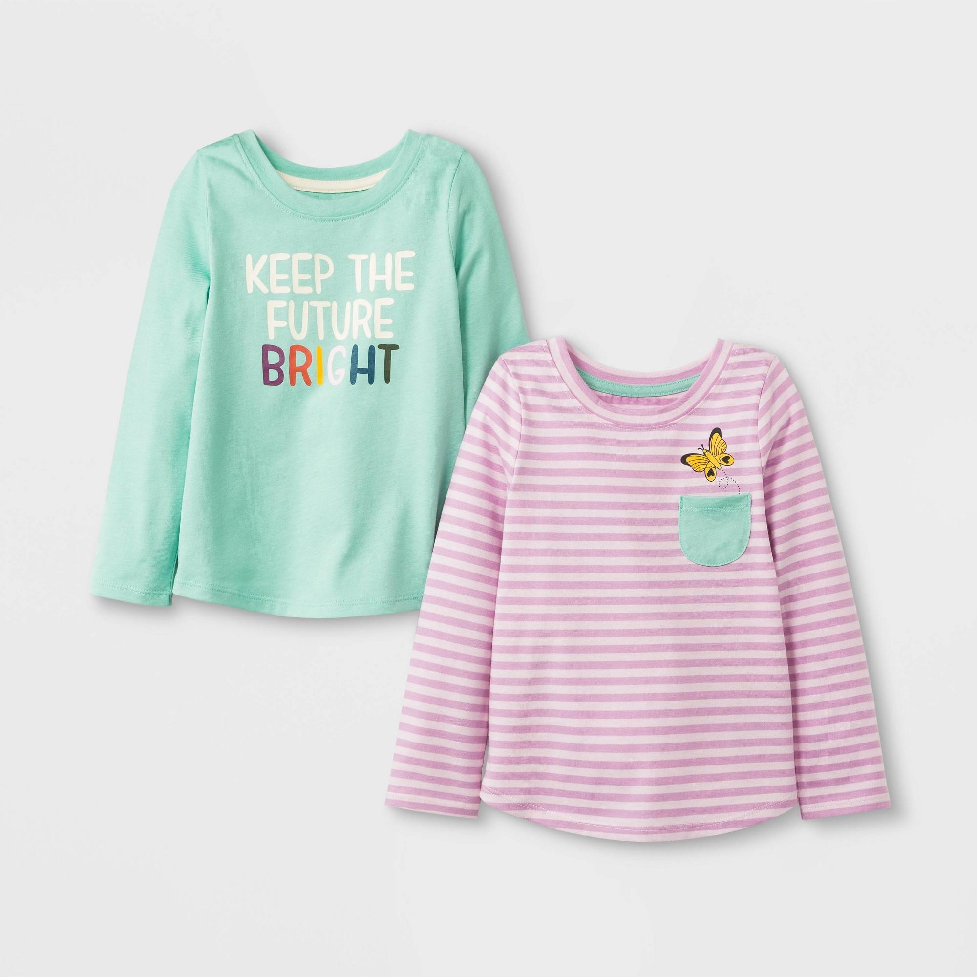 Toddler Girls' 2pk Long Sleeve T-Shirt Set - Cat & Jack Mint/Pink 2T