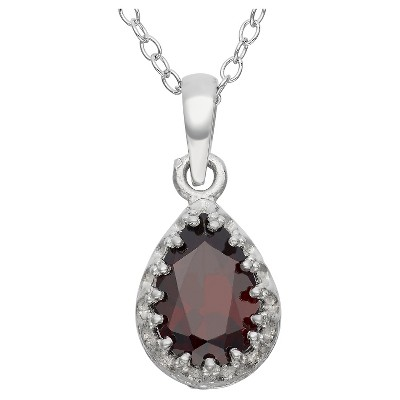 Pear-Cut Garnet Crown Pendant in Sterling Silver