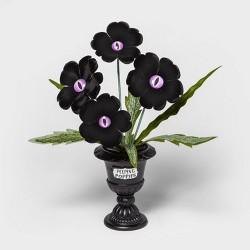 Purple Eye Peeping Poppies Medium Halloween Faux Plant (in Black Planter) - Hyde & EEK! Boutique™