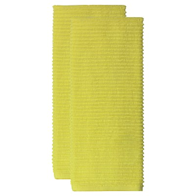 2pk Cotton Ridged Kitchen Towel Yellow - MU Kitchen