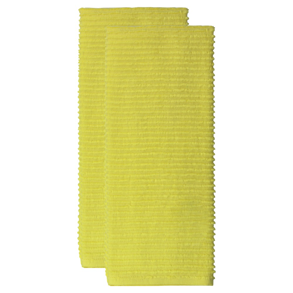 """Image of """"18""""""""x28"""""""" 2pk Cotton Ridged Kitchen Towel Yellow - MUkitchen"""""""