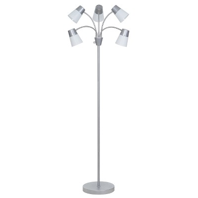 LED Adjustable 5-Head Floor Lamp Silver/White (Includes Energy Efficient Light Bulb)- Room Essentials™