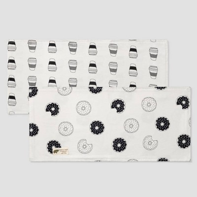 Layette by Monica + Andy Baby 2pk Organic Cotton Donuts and Coffee Print Burp Cloth Set - White/Black
