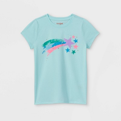 Girls' 'Shooting Star' Short Sleeve Graphic T-Shirt - Cat & Jack™ Light Blue