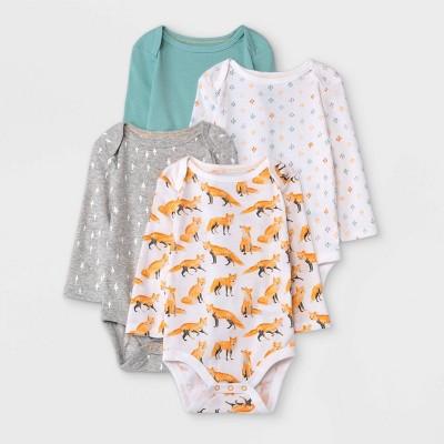 Baby Boys' 4pk Fox Long Sleeve Bodysuit - Cloud Island™ Orange 0-3M