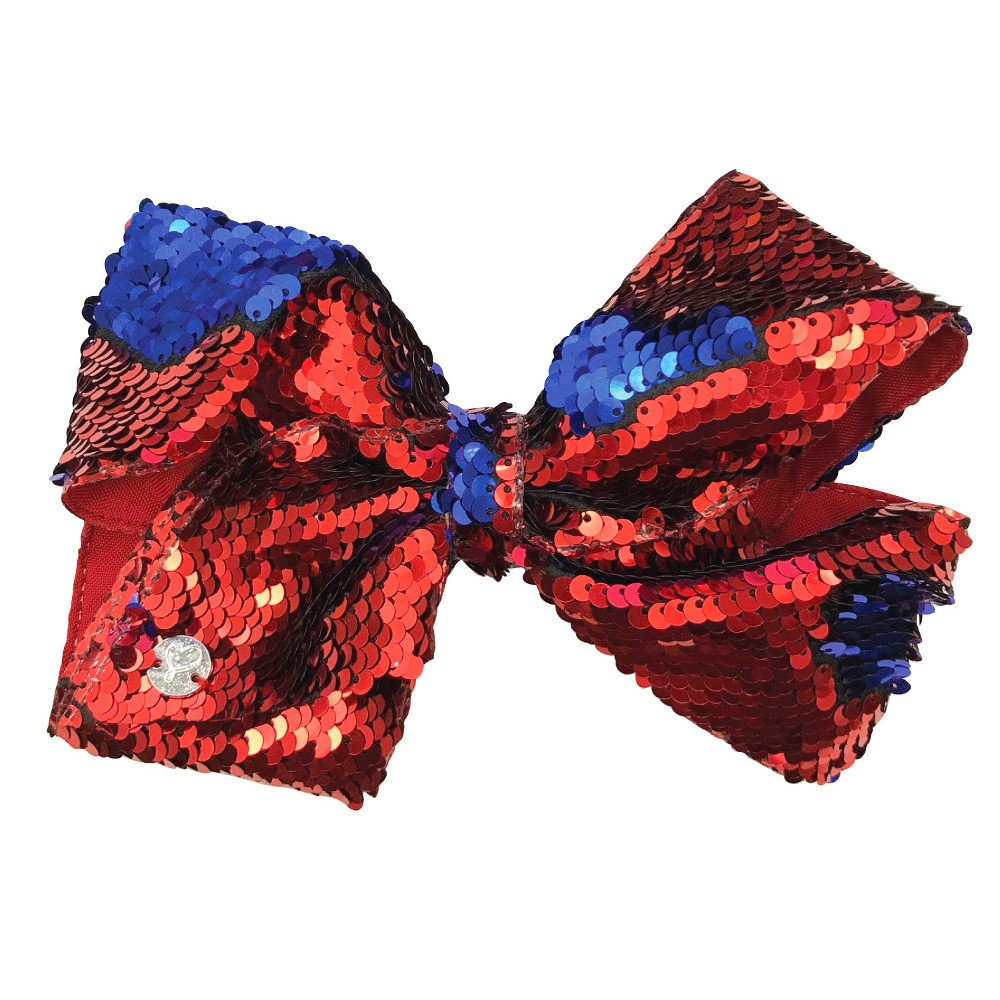Girls' JoJo Siwa Reverse Sequin Bow Hair Clip - Red/Blue