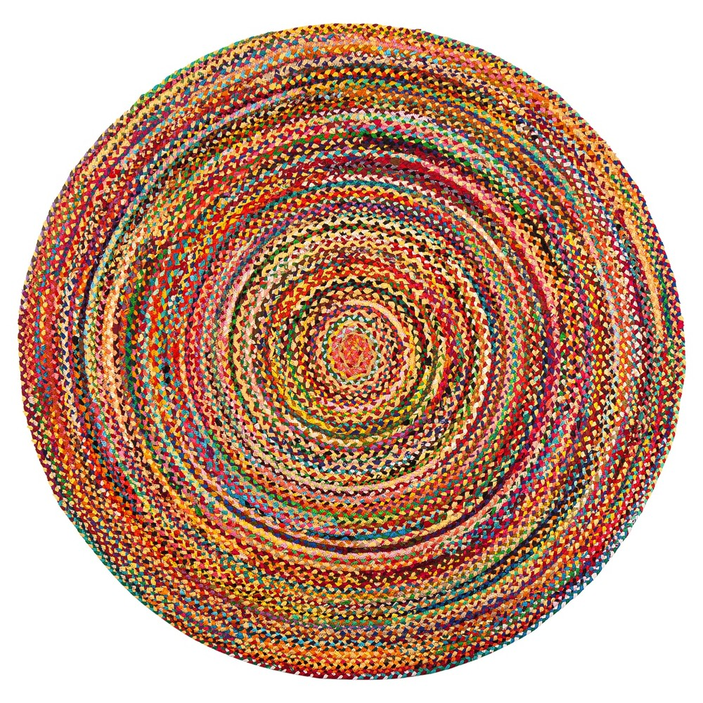 Shapes Braided Round Area Rug 6' - Anji Mountain, Multicolor Bright Rainbow