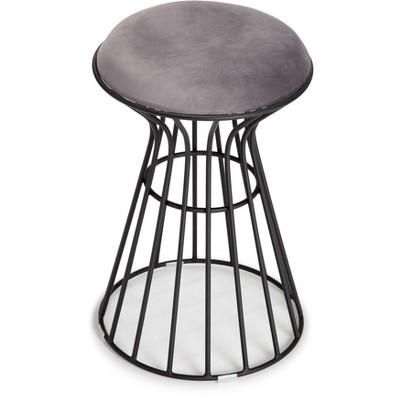 Lulu Velvet Upholstered Vanity Stool Black/Gray - Adore Decor