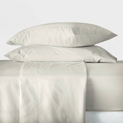 Queen Washed Supima Percale Solid Sheet Set Natural - Casaluna™