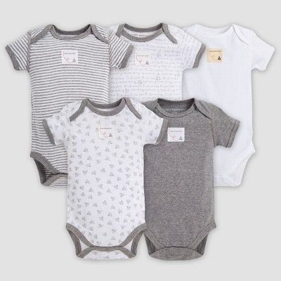 Burt's Bees Baby® Organic Cotton 5pk Short Sleeve Bodysuit Set - Heather Gray Preemie