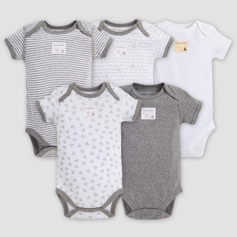 Burt S Bees Baby 174 Organic Cotton 5pk Short Sleeve Bodysuit Set Heather Gray 12m